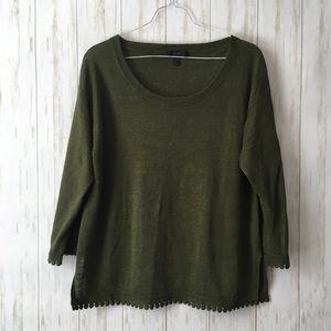 j. crew • Army Green Linen Sweater w/ Pom Pom Trim